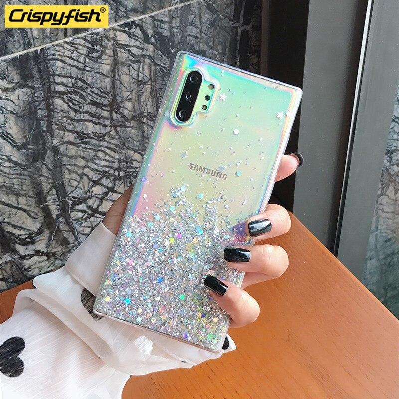 Funda para teléfono Samsung S20 Ultra s11 PLUS, a la moda, transparente, deslizante, a prueba de golpes y estrellas con purpurina