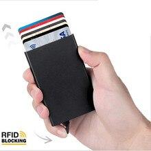 Tarjetero antirrobo para hombre y mujer, portatarjetas de identificación, billetera de Metal de aluminio fino, funda de bolsillo, caja para tarjetas de crédito