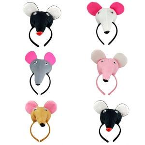 Модный плюшевый головной убор с мышкой и крысой, украшение для волос, головные уборы для девочек, аксессуары для волос с животными, вечерние ...