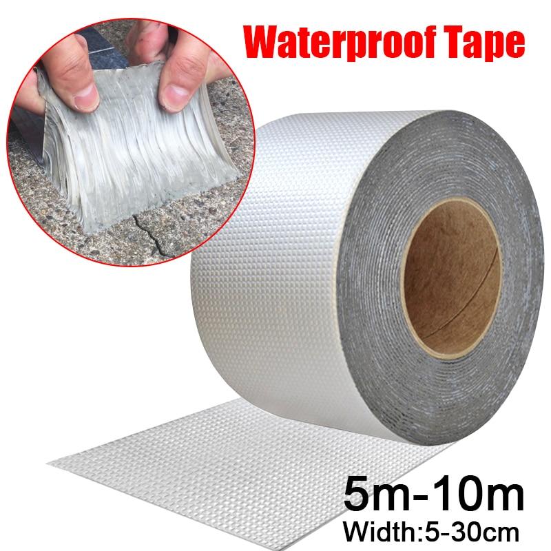 High Temperature Resistance Waterproof Tape Aluminum Foil Thicken Butyl Tape Wall Crack Roof Duct Repair Adhesive Tape 5-10M