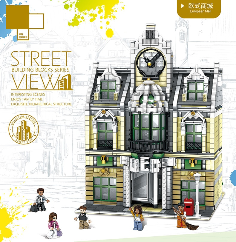 Juguetes de Vista urbana DHL 14248, gran emporio para construir el salón de bodas, modelo de bloques de construcción MOC 10211, juguete de regalo de Navidad