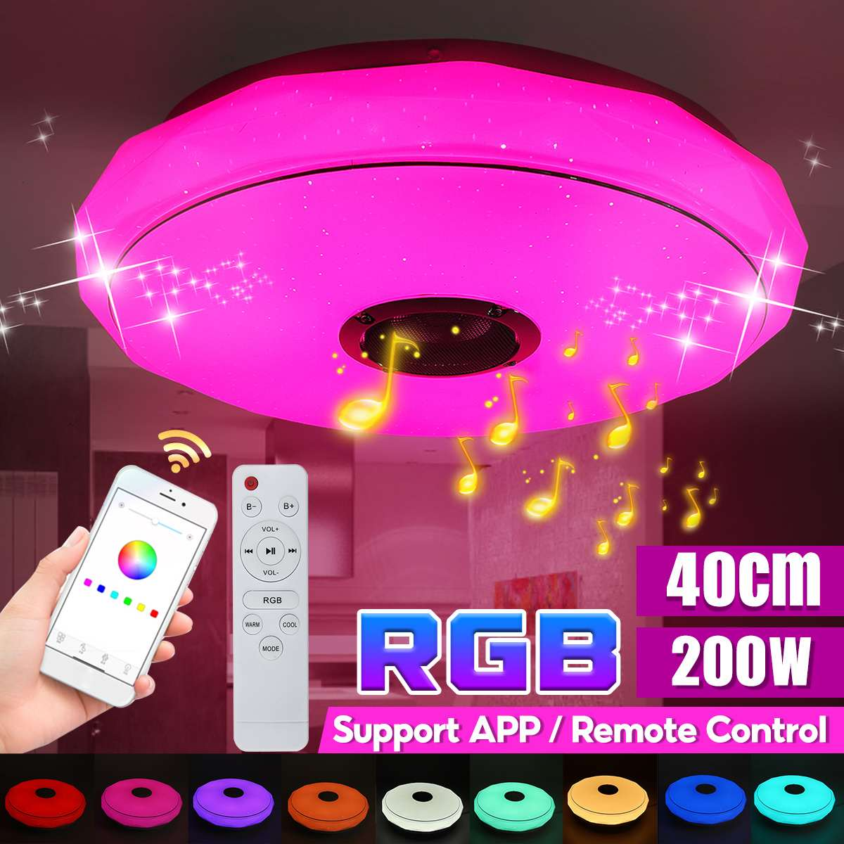 120 واط/200 واط الحديثة RGB LED أضواء السقف المنزل الإضاءة app بلوتوث موسيقى خفيفة مصابيح غرفة نوم مصباح السقف الذكية + التحكم عن بعد