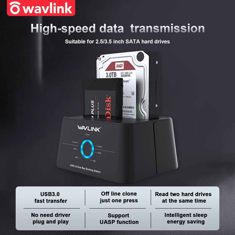 Wavlink HDD Docking Station Sata Hard Drive Enclosure SATA to USB 3.0 Adapter for 2.5 3.5 SSD Disk C