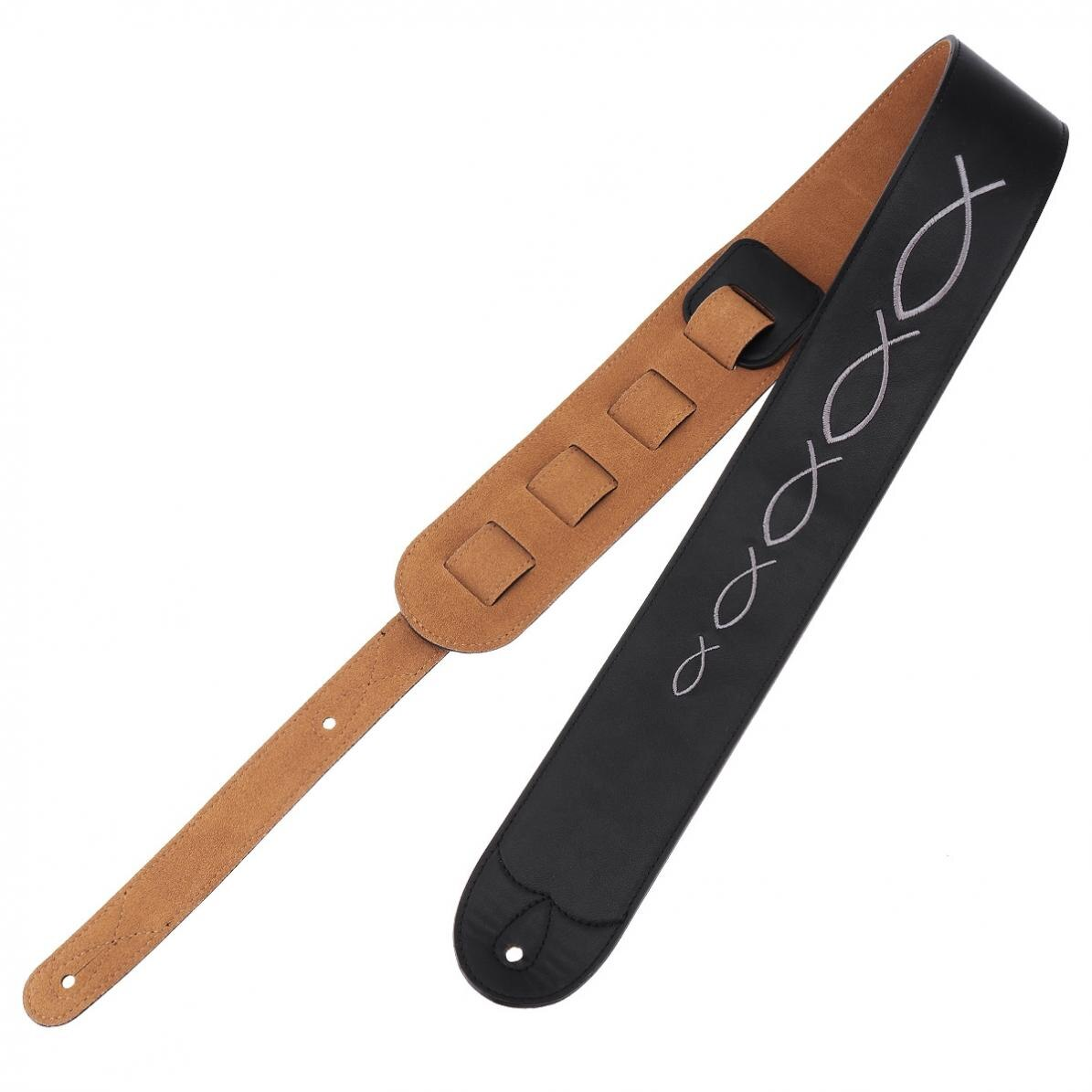 Guitar Strap Genuine Leather Embroidery Guitar Strap 6.5cm Widen with Cow Suede Bottom for Acoustic Electric Bass Guitar enlarge