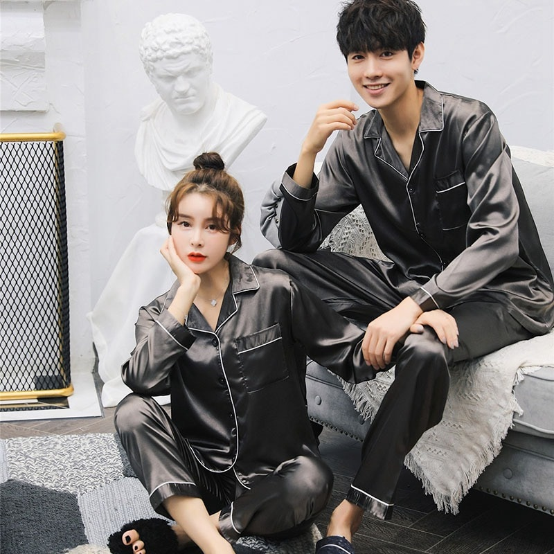 Fashion Long Sleeved Pajama Sets Satin Pajama Sets for Couple Home Suit Spring Sleepwear