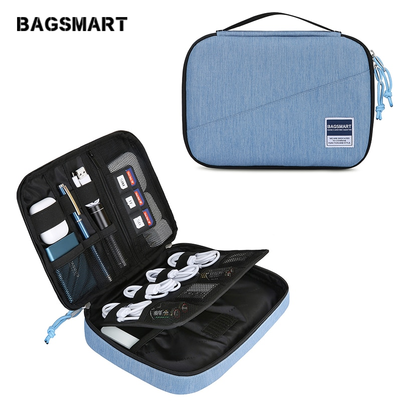 BAGSMART Travel Electronic Accessories Organizer Portable Bags For USB Cable Fashion Waterproof Storage Bags for Ipad Earphone