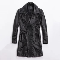 mens winter 2019 genuine leather coat smart causal lapel cow leather long coat men slim fit cotton liner windbreaker male