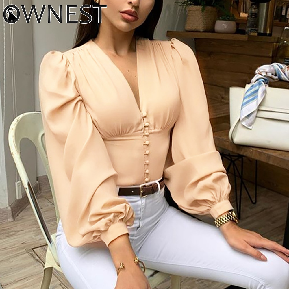 Ownest Ladies Elegant Blouse Lantern Long Sleeve Tops 2020 Summer V Neck Fashion Shirts Women Button Down Autumn Blouse