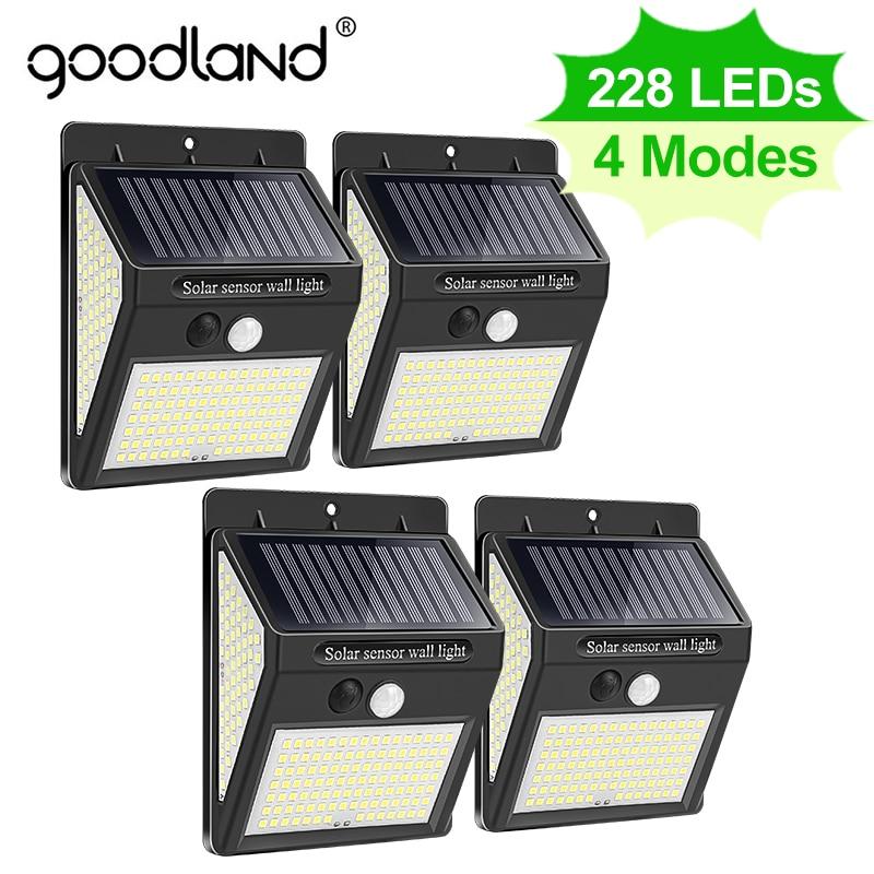 Goodland 228 144 LED Solar Light Outdoor Solar Lamp PIR Motion Sensor Solar Powered Sunlight Street Light for Garden Decoration