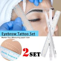 2 pieces makeup surgery skin white marker pen eyebrow repair special marker pen permanent eyebrow pencil measuring tattoo tool