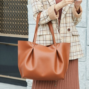 women 2020 Simple Style Soft PU Leather Large Handbag Purse High-capacity Casual Tote Women High Quality Shoulder Crossbody Bags