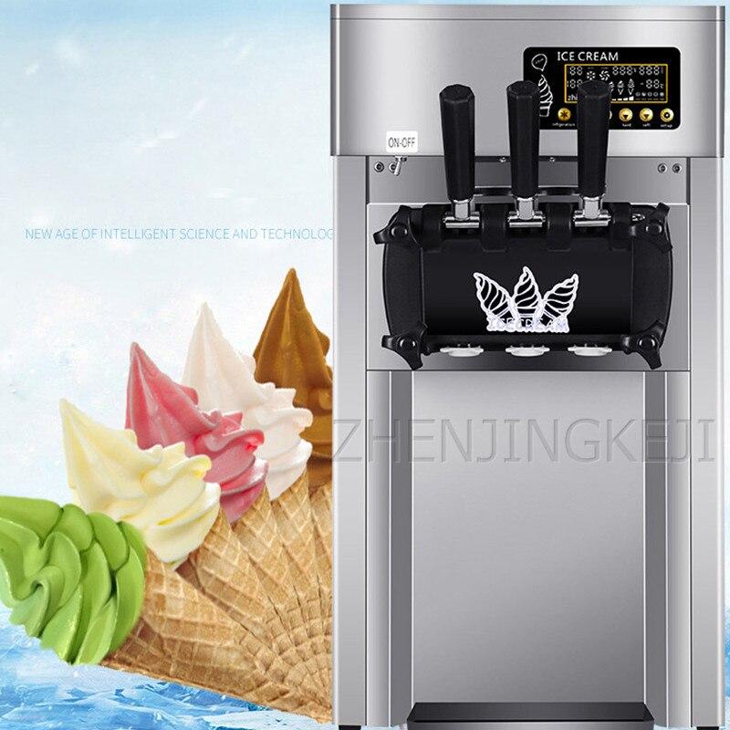 110/220V Commercial Ice Cream Machine Desktop Tricolor Ice Cream Maker Fruit Dessert Machine Sweet Cone Freezing Equipment 1200W