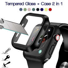 360 Full Screen Protector Bumper Frame Matte Hard Case For Apple Watch 6/SE/5/4/3/2/1 Cover Tempered Glass Film For iwatch 4/5
