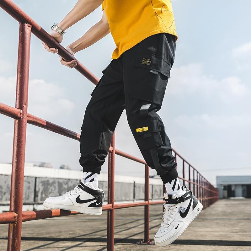 Man Sweatpants Streetwear Casual Mens Pants S-5Xl 2021 New Hip Hop Joggers Cargo Pants Men Harem Pants Multi-Pocket Ribbons