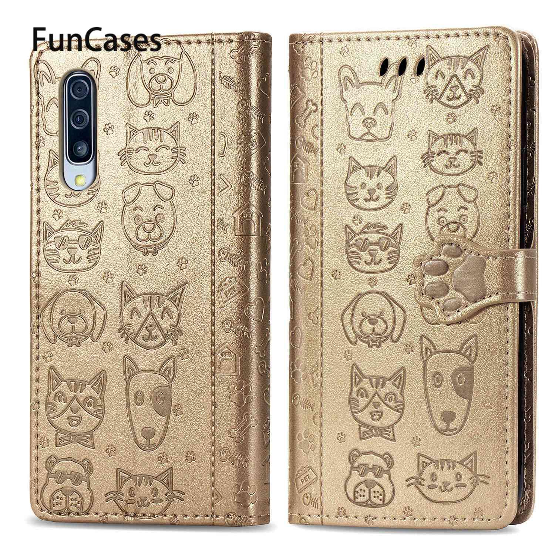 Fundas nuevas con huellas de gato para capa Samsung A51, Fundas para móvil Samsung Galaxy celular A50 A40 A50S A41, Fundas de cuero PU para libros