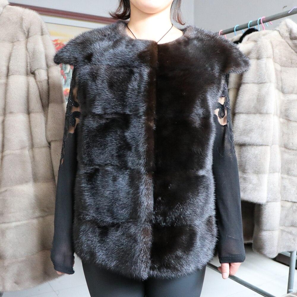 سترة نسائية من فرو المنك الطبيعي ، ملابس شتوية ، نمط قصير ، 2020