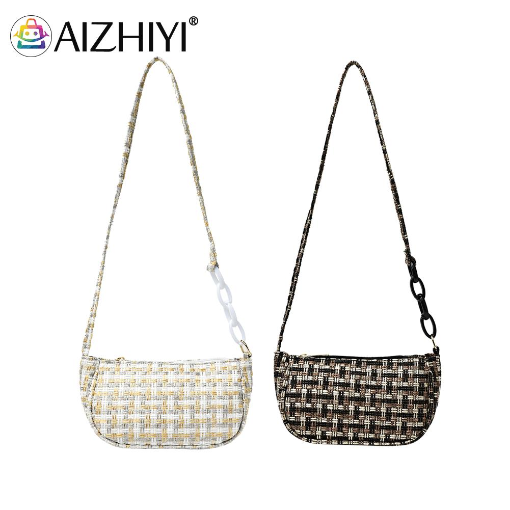 Fashion Hand Woven Shoulder Underarm Bags Acrylic Chain Women Small Handbags Female Causal Daily Tot
