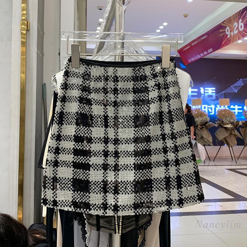 Women Chic Plaid Sequined Skirt for Women 2021 Autumn New Temperament A- Line Mini Skirts