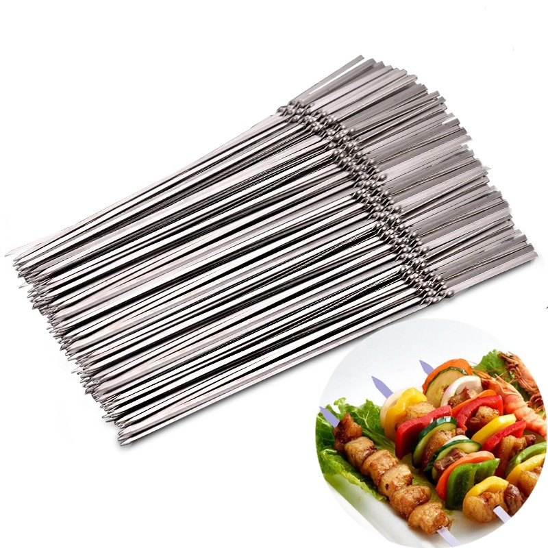 Acessórios para churrasco reusável espetos de aço inoxidável plana churrasco vara agulha para acampamento ao ar livre piquenique churrasqueira 15 pçs