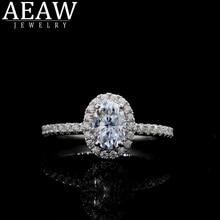 AEAW diamante Moissanite anillo sólido 18K oro rosa 5x7mm 1.0ct Oval corte Moissanite anillo de compromiso único Moissanit anillos de boda