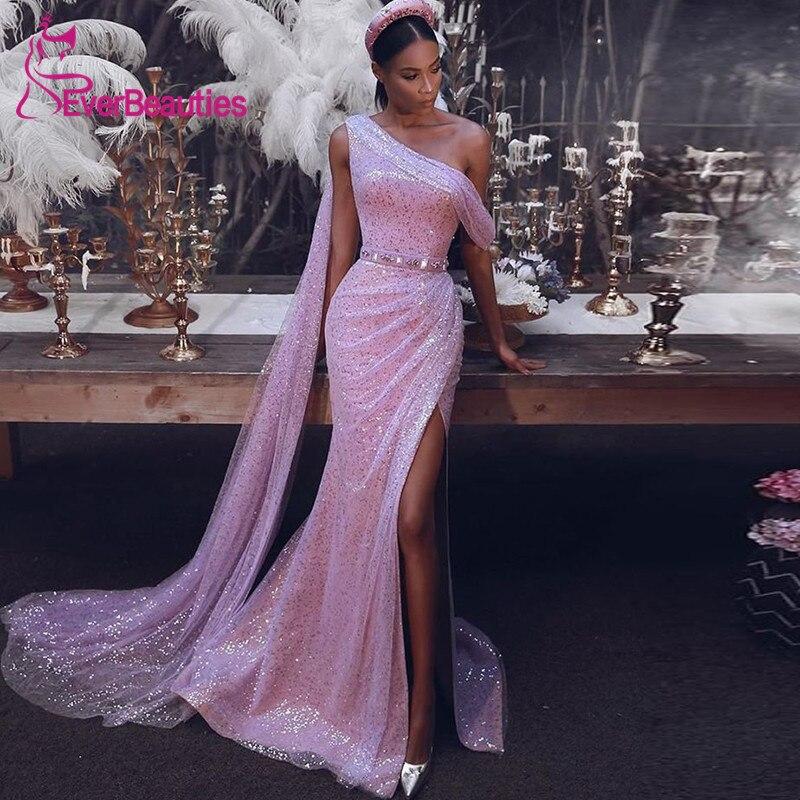 Abendkleider Mermaid Shiny Evening Dress Long 2020 Sequins One Shoulder Robe De Soiree Long Formal Dress Party Gowns недорого