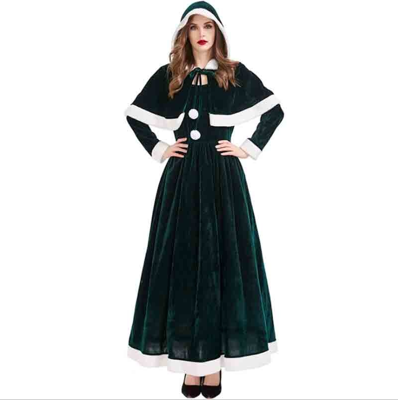 Green Velvet Long Dress With Clock Christmas Mrs. Christmas Costume For Women Party Dress New Year Costume For Women Plus Size