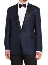 Navy Blue Wedding Tuxedo For Men Custom Made Navy Blue Nailhead Wedding Suits For Men Contrasting Black Peak Lapel Groom Tuxedo