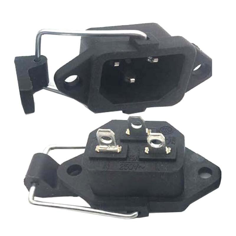 Enchufe negro IEC320 C13 C14 con cableado incrustado conector Anti-viaje Carga de coche eléctrico salida de corriente de CA 15A 250V