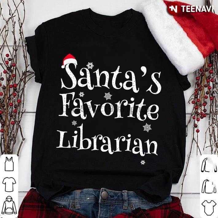 Camiseta de Navidad para mujer con diseño de bibliotecario favorito de Papá Noel para hombre