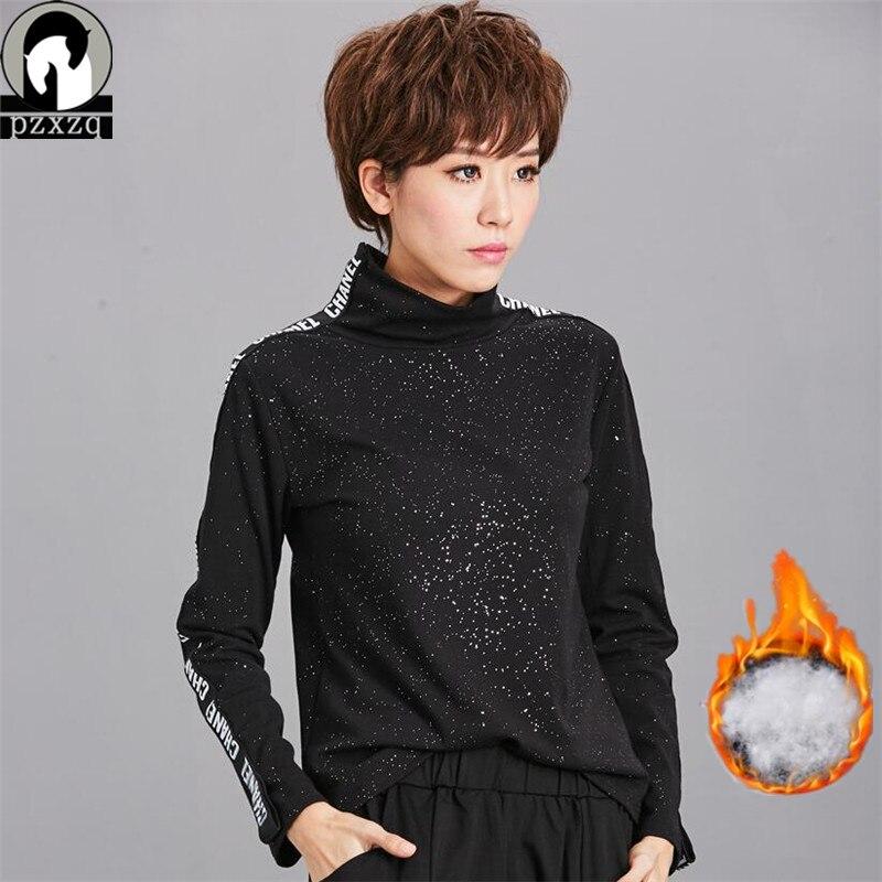 Winter Womens Warm Thick Glitter Elvet 90% Cotton T-shirts Tops Tees New Women Long-sleeve Turtleneck Letter Print Female Basic