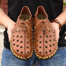 2021 New Autumn Hollow Leather Shoes Men's Lazy Shoes Casual Fashion Breathable Hole Shoes Soft Sole