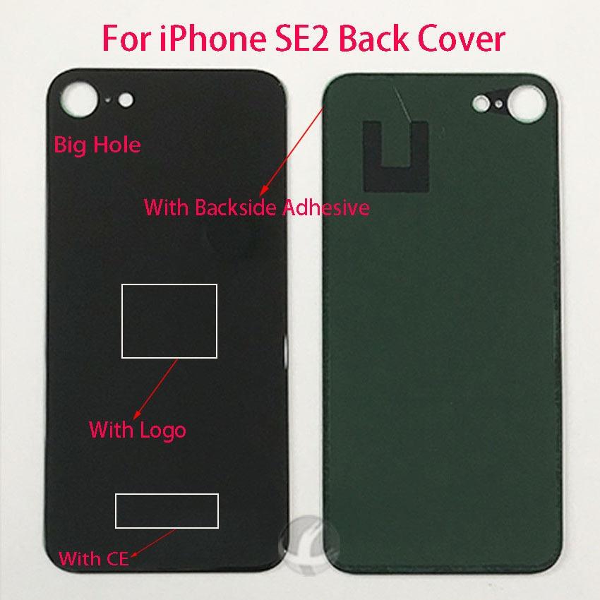 Cubierta trasera de gran agujero para iPhone SE2 SE 2 SE2020 versión de la ue tapa trasera de cristal con logotipo + adhesivo trasero