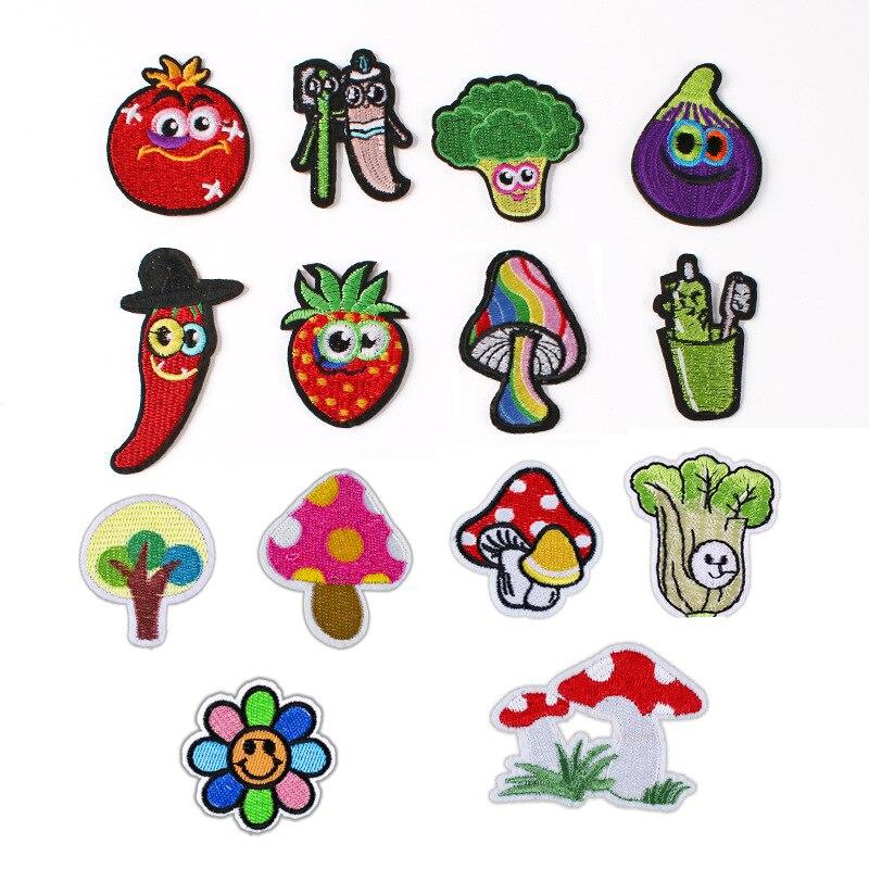 Новая ткань для вышивки овощей, помидоров, брокколи, баклажан, грибов, перца, аксессуары для одежды, значки, нашивки, значки, украшение куртки