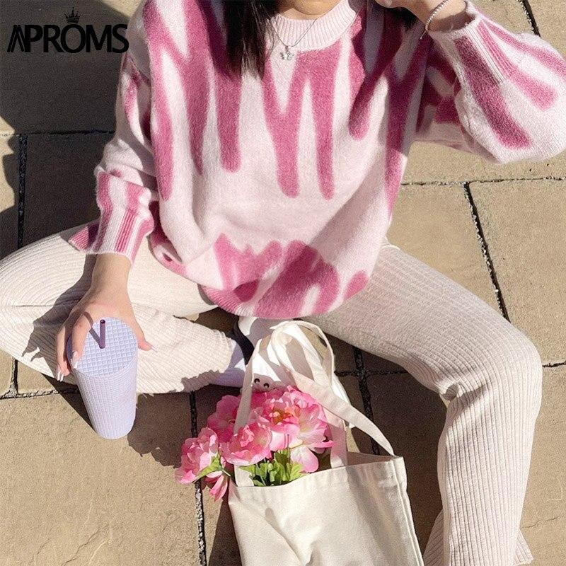 Aproms Elegant Korean Fashion Rose Stripe Print Long Sweater Women 2021 Winter Streetwear Pink Knitted Pullovers Loose Outerwear