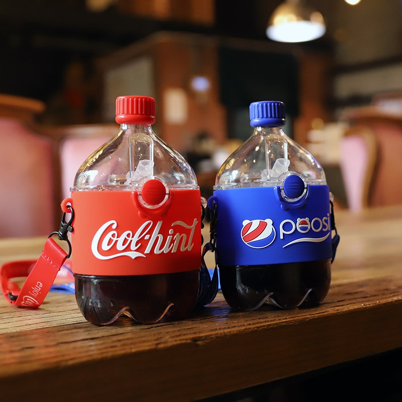 Creative Cartoon Cute Water Cup with Straw Portable Tritan Drink Cups Cola Cup Straw Water Bottle IN