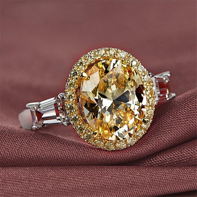 Huitan deslumbrante grande amarelo oval cz feminino anel de alta qualidade casamento nupcial cerimônia festa anéis simples design clássico presentes finos Anéis    -