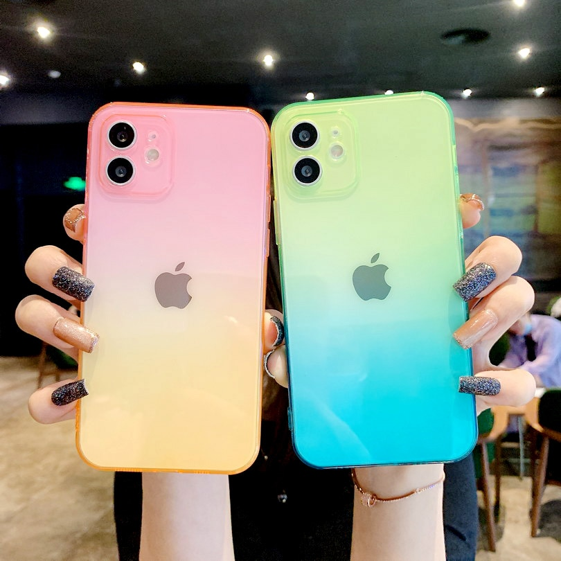 Multi-color gradient phone case for iPhone 12 Pro Max 11 Pro XS XR X 8 Plus 7 + soft Slim Ultra-thin