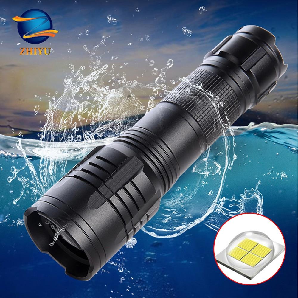 Potente linterna LED ZHIYU XHP50, soporte de cuentas para lámpara con zoom, 5 modos de iluminación, antorcha con batería 18650/ 26650 para actividades al aire libre