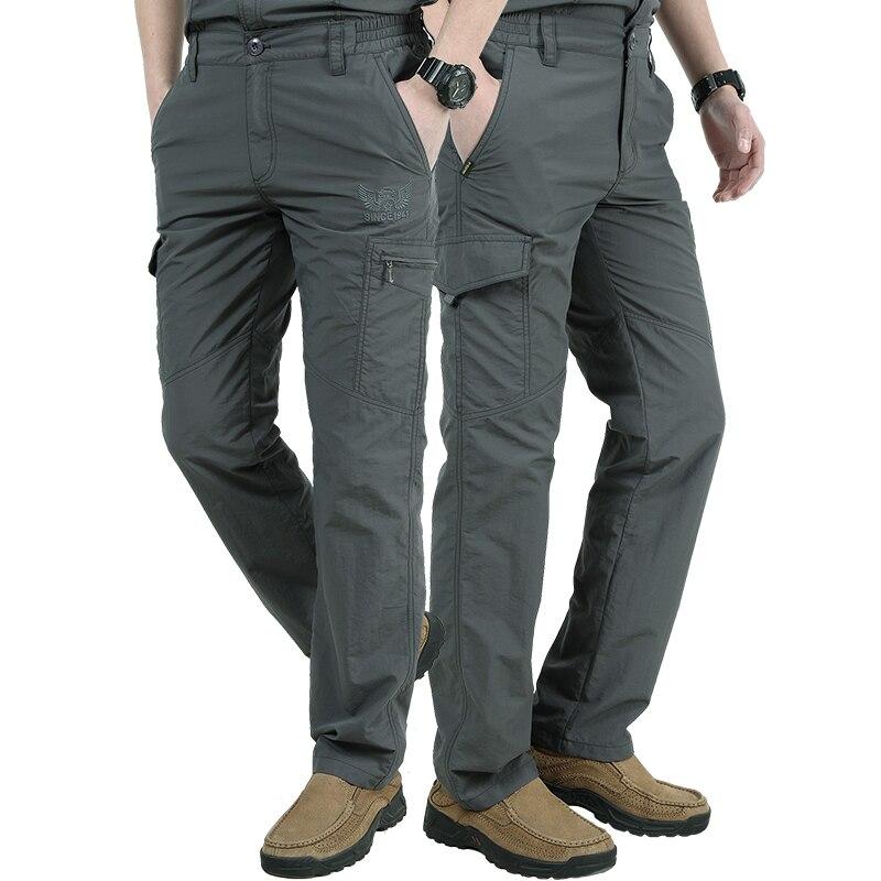 Pantalones de verano de talla grande para hombre, estilo militar, pantalones transpirables para hombre, pantalones para correr, pantalones informales con bolsillos militares