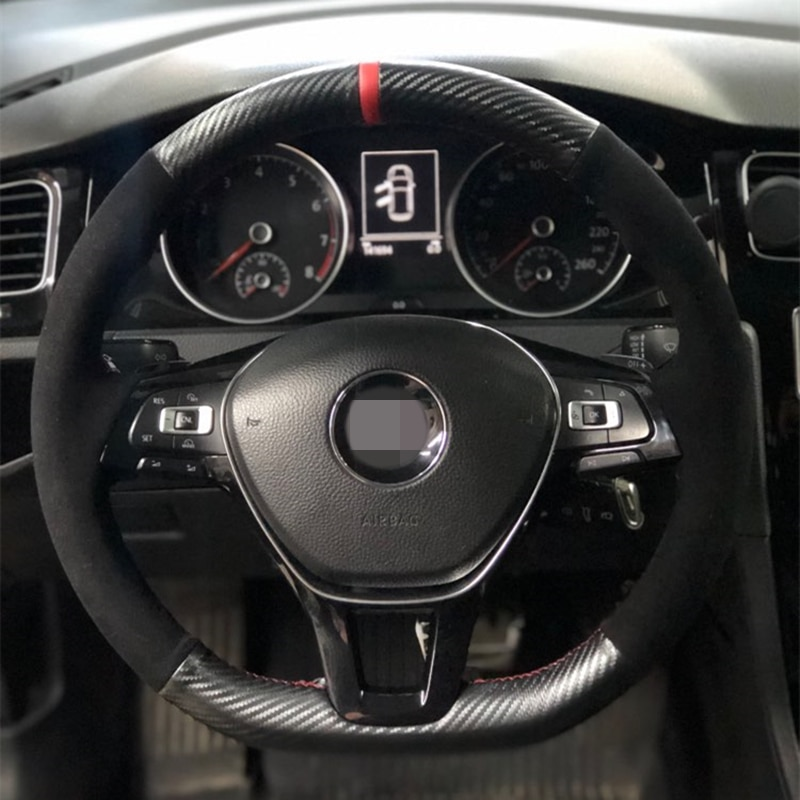 Black Suede Car Steering Wheel Cover Carbon Fiber for Volkswagen VW Golf 7 Mk7 New Polo Jetta Passat B8 Tiguan Sharan Touran Up