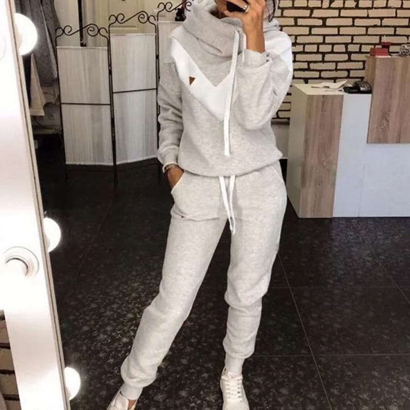Women's Tracksuit 2 Piece Set Pullover Hoodie+Pants Sports Suit Female Autumn Winter Sweatshirt Sets Sportswear For Woman 2020