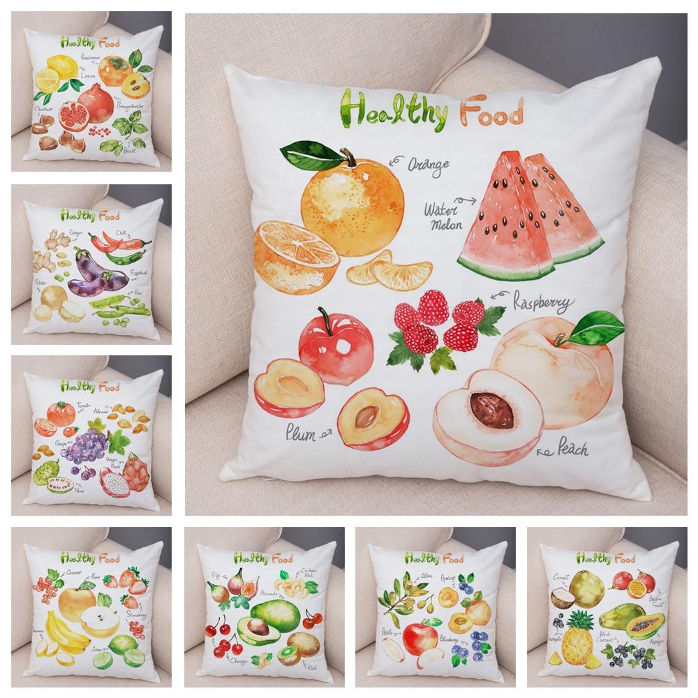 Healthy Food Pillow Case Decor Apple Grape Lemon Plant Cushion Cover for dining Room Sofa 45*45cm Super Soft Plush Pillowcase
