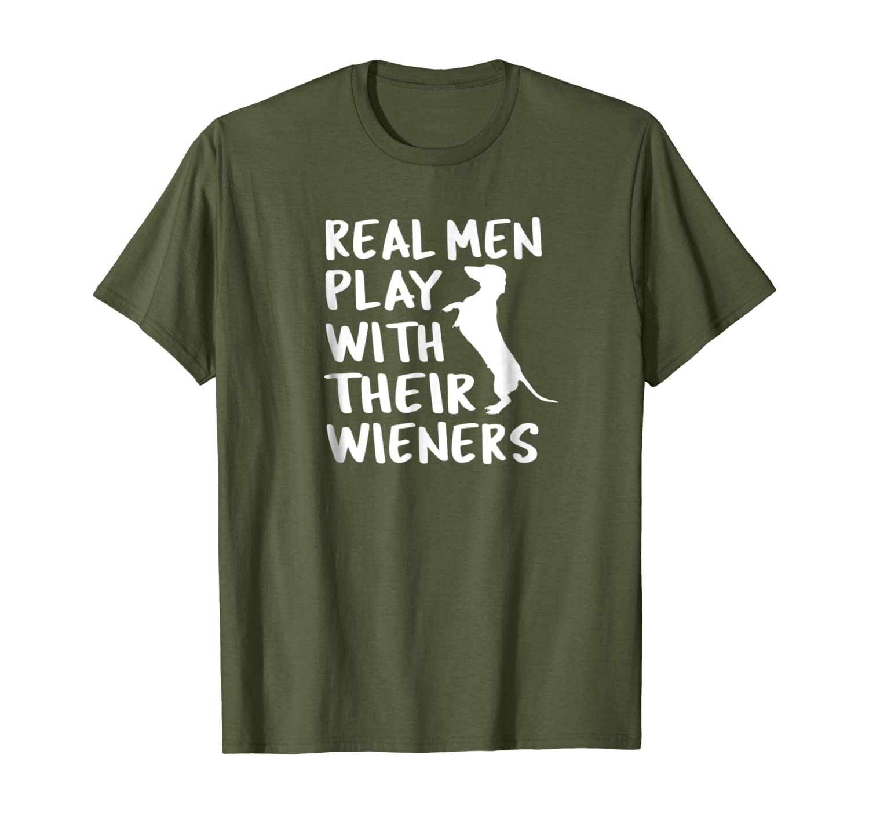Забавные футболки с таксой, настоящие мужчины играют со своим Weiners