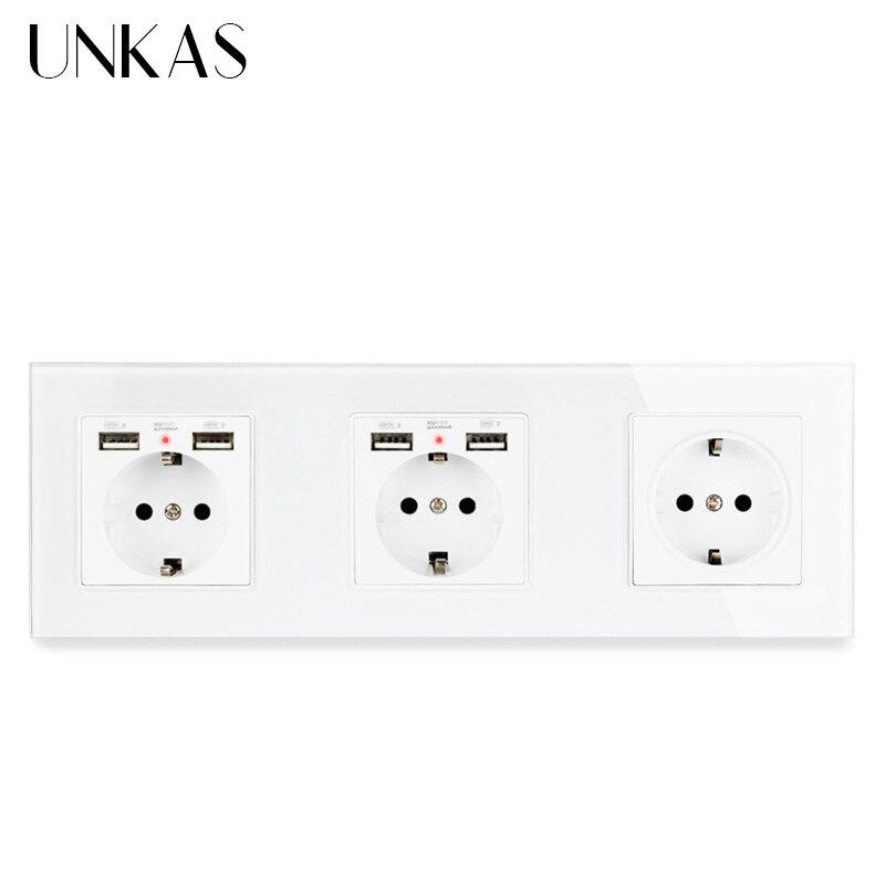 UNKAS 3 عصابة الاتحاد الأوروبي القياسية مقبس الحائط مع 2 USB ميناء الشحن للهاتف المحمول المقبس الزجاج لوحة 258*86 مللي متر