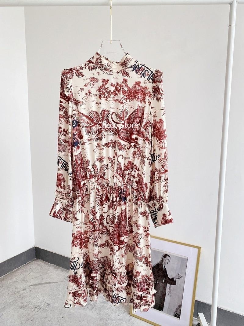 Женское платье весна-лето 2020 платье из вискозы с принтом и воротником-стойкой