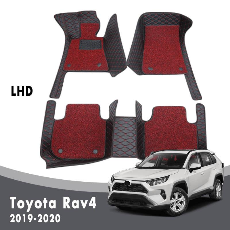 Car Floor Mats Carpets For Toyota Rav4 Rav 4 XA50 50 2020 2019 Auto Luxury Double Layer Wire Loop Interior Accessories Custom
