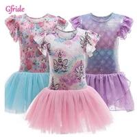 2021 summer princess girl unicorn ballet costume mermaid dress ruffle sleeve kids birthday party gown piano performance clothing