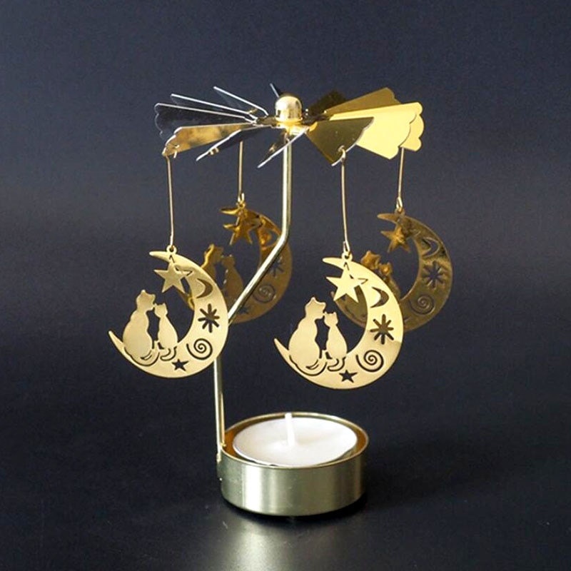 Portavelas de Metal dorado, candelabro giratorio de rotación, candelabro de molino de viento, vela de regalo de Navidad, farol de caballo