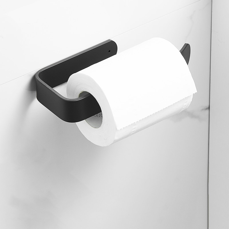 Toilet Roll Paper Holder Black  Bathroom Tissue Rack Wall Mounted Kitchen Paper Holder Towel Rack Towel holder Storage shelf self adhesive roll paper holder bathroom toilet paper holder kitchen towel holder rack tissue hanger rack hanging organizer
