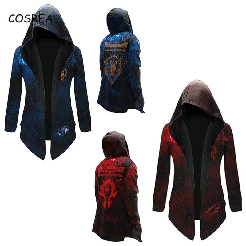 Cosrea Jacket World of Warcraft Cosplay Costume Horde and Alliance Hoodie Sweatshirt Halloween Hip Hop Tops Men Autumn Coat